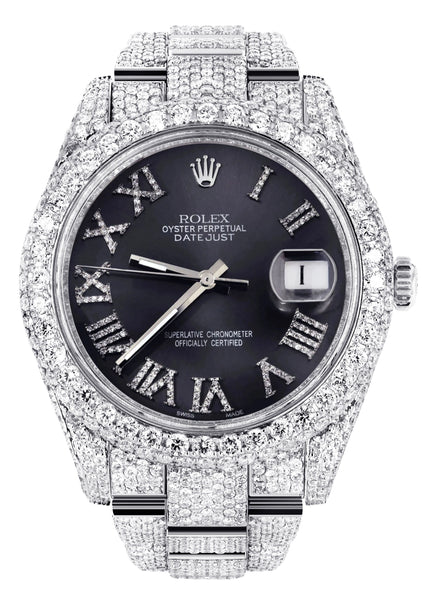 Diamond Iced Out Rolex Datejust 41 | 25 Carats Of Diamonds | Custom Grey Roman Numeral Diamond Dial | Two Row | Oyster Band