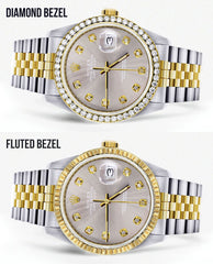 Diamond Rolex Mens Watch Datejust 16233 | 36Mm | Grey Dial | Jubilee Band