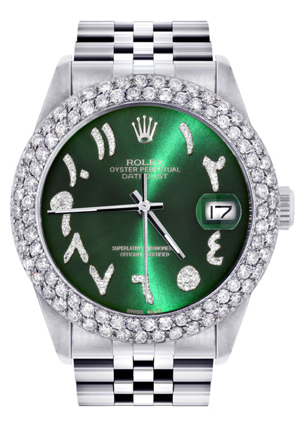 Mens Rolex Datejust Watch 16200 | 36Mm | Green Arabic Diamond Dial | Two Row 4.25 Carat Bezel | Jubilee Band