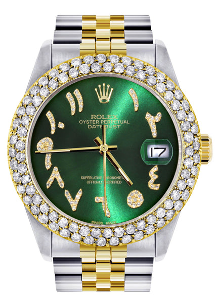 Diamond Gold Rolex Watch For Men 16233 | 36Mm | Green Arabic Diamond Dial | Two Row 4.25 Carat Bezel | Jubilee Band