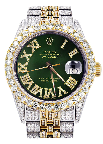 Iced Out Rolex Datejust 36 MM | Two Tone | 10 Carats of Diamonds | Green Roman Diamond Dial