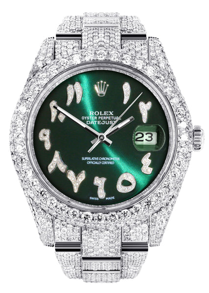 Diamond Iced Out Rolex Datejust 41 | 25 Carats Of Diamonds | Custom Green Arabic Numeral Diamond Dial | Two Row | Oyster Band