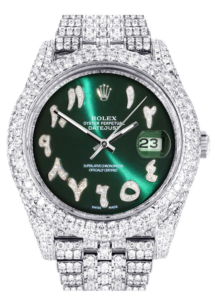 Diamond Iced Out Rolex Datejust 41 | 25 Carats Of Diamonds | Custom Green Arabic Numeral Diamond Dial | Two Row | Jubilee Band