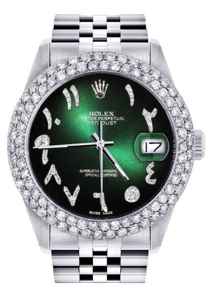 Mens Rolex Datejust Watch 16200 | 36Mm | Green Black Arabic Diamond Dial | Two Row 4.25 Carat Bezel | Jubilee Band