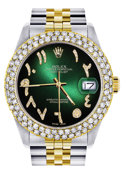 Diamond Gold Rolex Watch For Men 16233 | 36Mm | Green Black Arabic Diamond Dial | Two Row 4.25 Carat Bezel | Jubilee Band