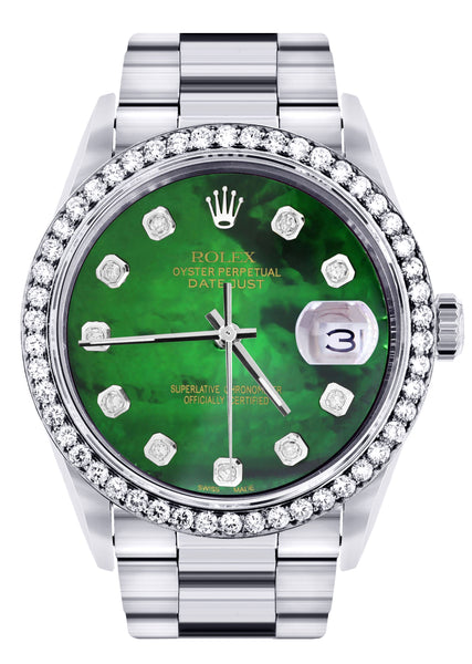 Diamond Mens Rolex Datejust Watch 16200 | 36Mm | Green Diamond Mother Of Pearl Dial | Oyster Band