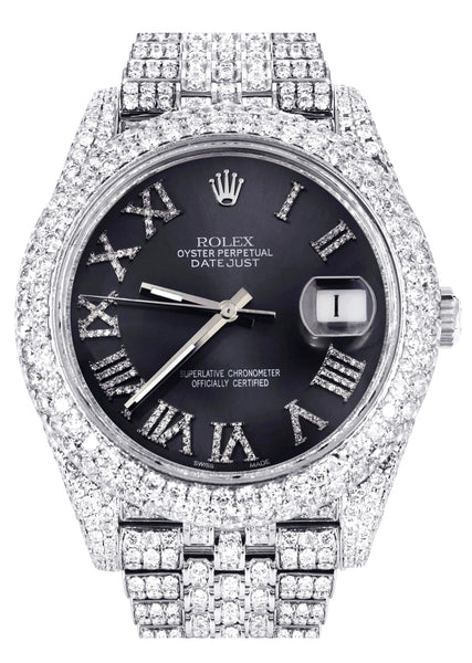 Diamond Iced Out Rolex Datejust 41 | 25 Carats Of Diamonds | Custom Grey Roman Numeral Diamond Dial | Two Row | Jubilee Band
