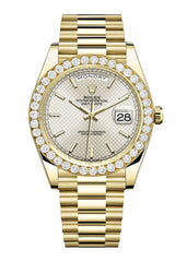 Rolex Day Date 40 Presidential Champagne Diagonal Motif Dial- Index Hour Markers With 4 Carats Of Diamonds