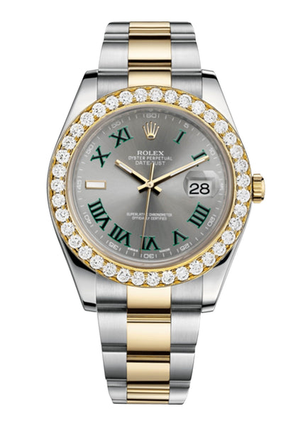 Rolex Datejust Ii Slate Dial - Greem Roman Numerals With 5 Carats Of Diamonds