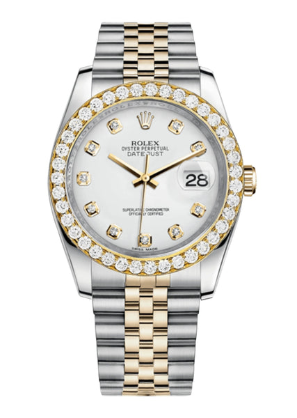 Rolex Datejust White Dial - Diamond Hour Markers With 4 Carats Of Diamonds