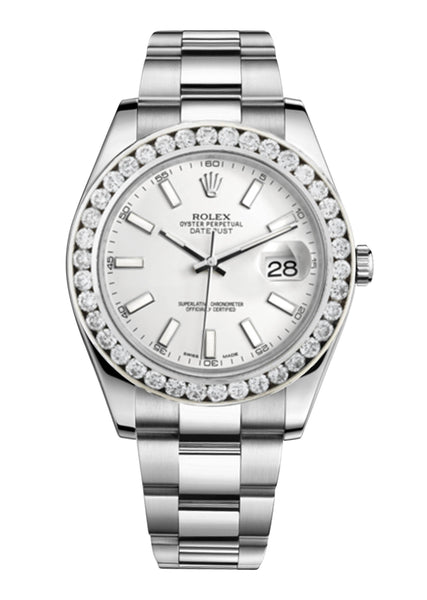 Rolex Datejust Ii White Dial - Index Hour Markers With 5 Carats Of Diamonds
