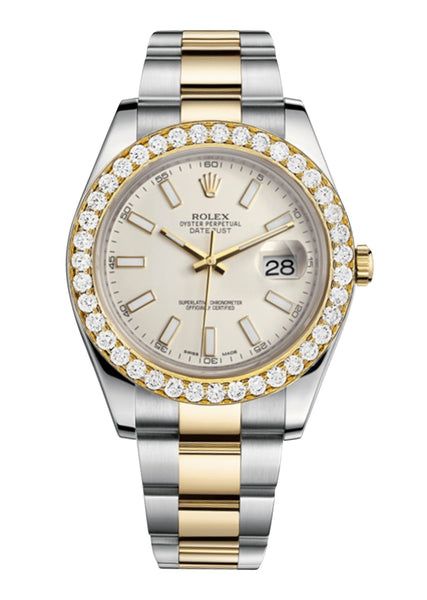 Rolex Datejust Ii Ivory Dial - Index Hour Markers With 5 Carats Of Diamonds
