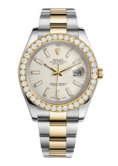 Rolex Datejust Ii Ivory Dial - Index Hour Markers With 5 Carats Of Diamonds WATCHES FROST NYC