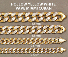14K Gold Chain - Hollow Diamond Cut Miami Cuban Link Chain MEN'S CHAINS FROST NYC
