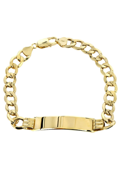 Hollow Id Cuban Bracelet 10K Yellow Gold
