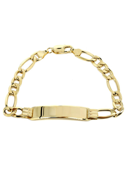 Hollow Id Figaro Bracelet 10K Yellow Gold