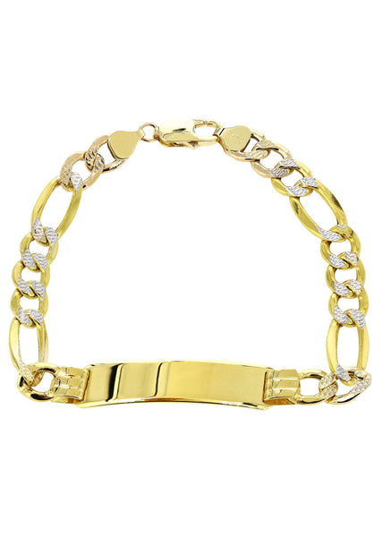 Hollow Id Pave Figaro Bracelet 10K Yellow Gold