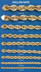 Hollow Mens Rope Chain 10K Yellow Gold