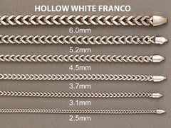 Gold Chain - Mens Hollow Franco Chain 10K White Gold