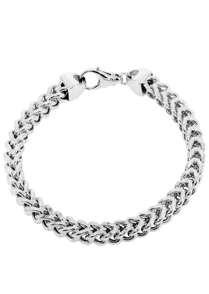 Hollow Mens Franco Bracelet 10K White Gold