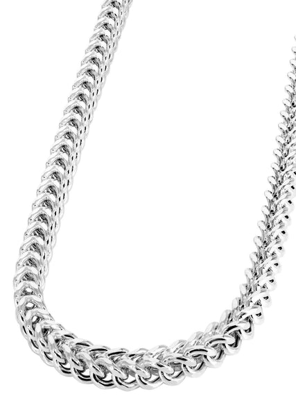 Womens 14K White Gold Chain - Hollow White Franco Chain