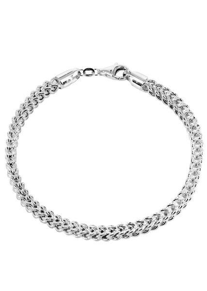 Hollow Mens Diamond Cut Franco Bracelet 10K White Gold