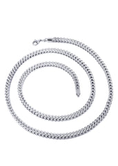 Hollow Mens Diamond Cut Franco Chain 10K White Gold