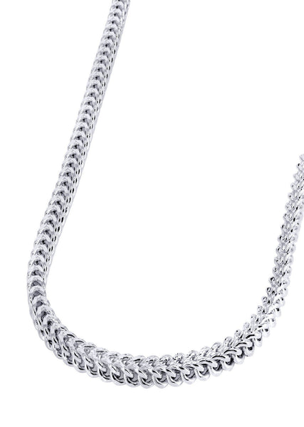 Womens 14K White Gold Chain - Hollow Diamond Cut Franco Chain