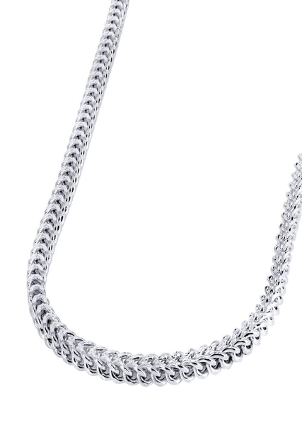Gold Chain - Mens Hollow Diamond Cut Franco Chain 10K White Gold