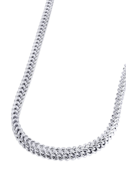 14K White Gold Chain Hollow Diamond Cut Franco