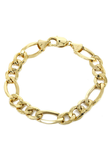 Hollow Mens Figaro Bracelet 10K Yellow Gold