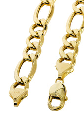 Hollow Mens Figaro Chain 10K Yellow Gold