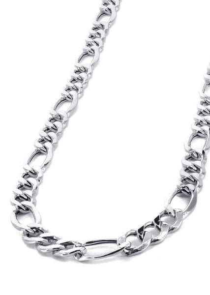 White Gold Chain - Womens Hollow Figaro Chain 10K Gold