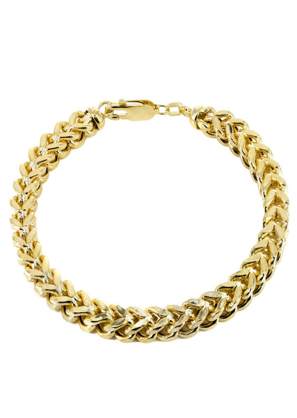Hollow Mens Franco Bracelet 10K Yellow Gold