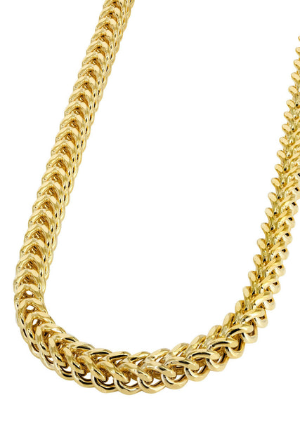 Womens 14K Gold Chain - Hollow Yellow Franco Chain