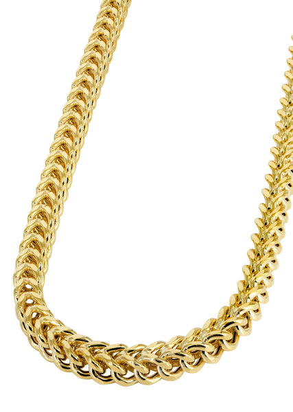 Hollow Mens Franco Chain 10K Yellow Gold