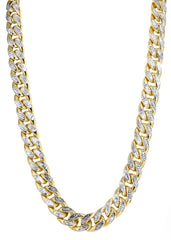 14K Gold Chain Hollow Diamond Cut Miami Cuban