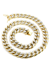 Hollow Mens Diamond Cut Miami Cuban Link Chain 10K Yellow Gold