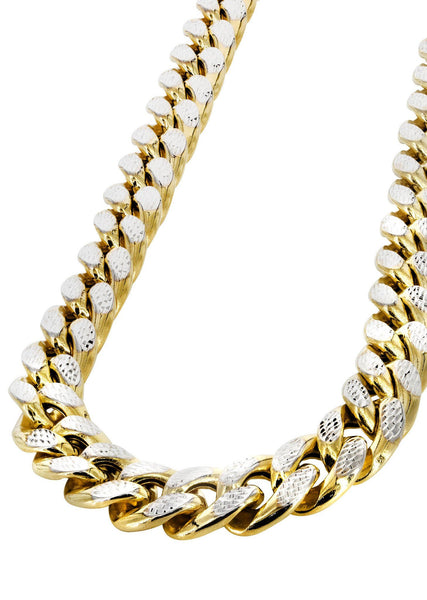 Womens 14K Gold Chain - Hollow Diamond Cut Miami Cuban Link Chain