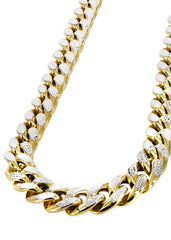 Gold Chain - Mens Hollow Diamond Cut Miami Cuban Link Chain 10k Gold MEN'S CHAINS FROST NYC