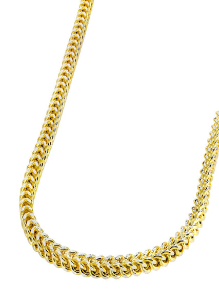 Hollow Mens Diamond Cut Franco Chain 10K Yellow Gold
