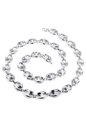 White Gold Chain - Mens Hollow Puff Chain 10K Gold