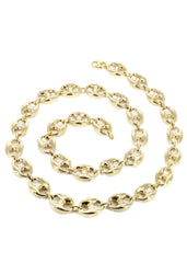 Hollow Mens Puff Chain 10K Yellow Gold