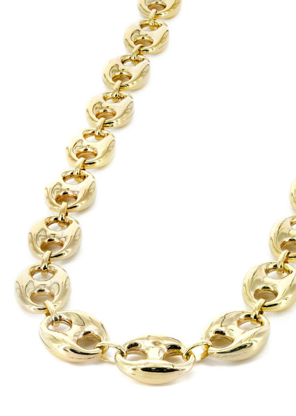 Womens 14K Gold Chain Hollow Puff