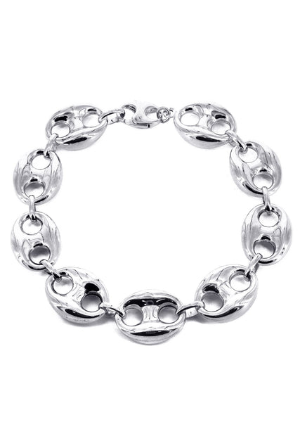 Hollow Mens Puff Bracelet 10K White Gold