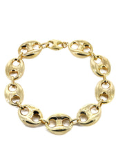 Hollow Mens Puff Bracelet 10K Yellow Gold