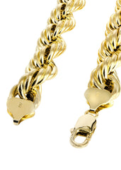 Hollow Mens Rope Chain 14K Yellow Gold