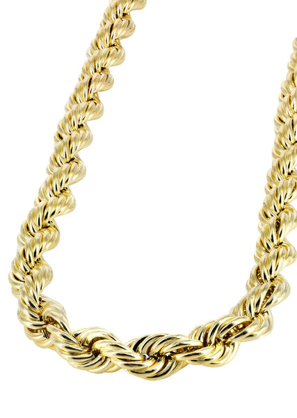 14K Yellow Gold Chain - Hollow Mens Rope Chain