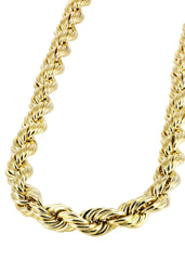 14K Yellow Gold Hollow Mens Rope Chain