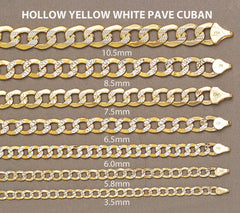 Hollow Mens Pave Cuban Bracelet 10K Yellow Gold